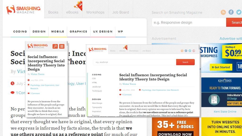 The famous Smashing Magazine has deployed a very sophisticated responsive website.