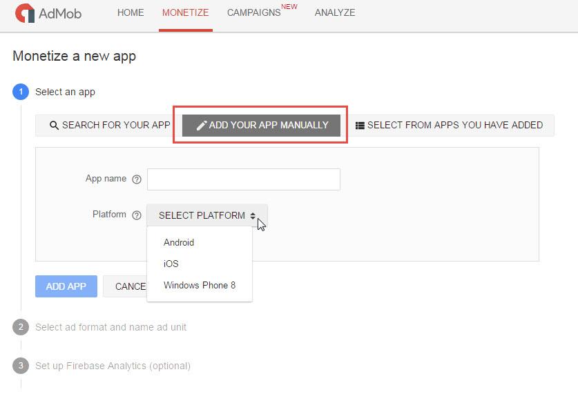 Create AdMob App Step 1