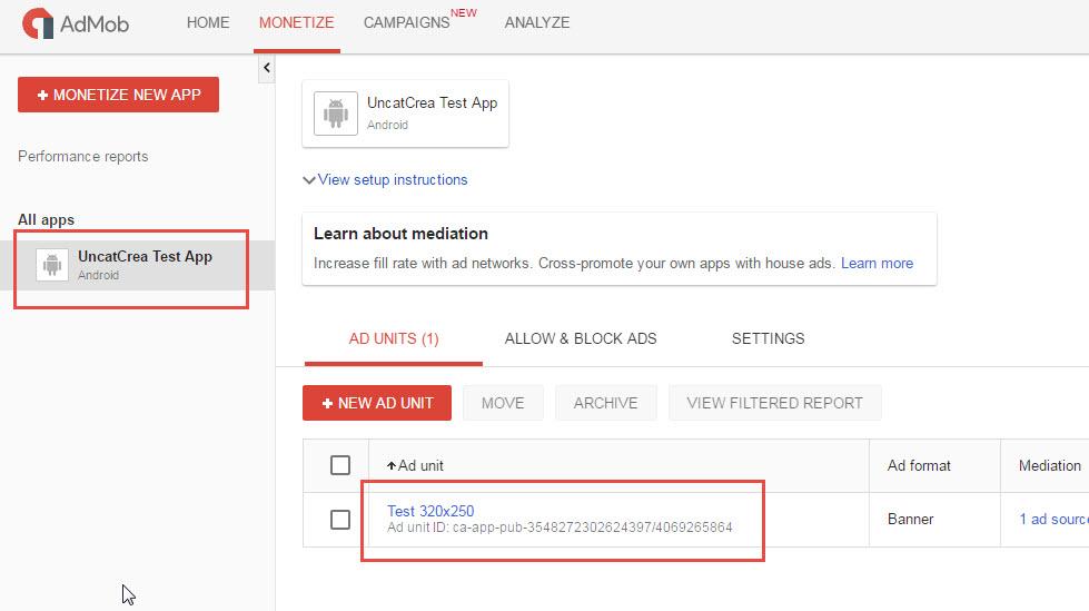 Create Admob App Step 3