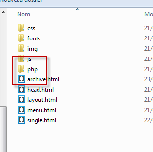 The mysterious theme's PHP folder.