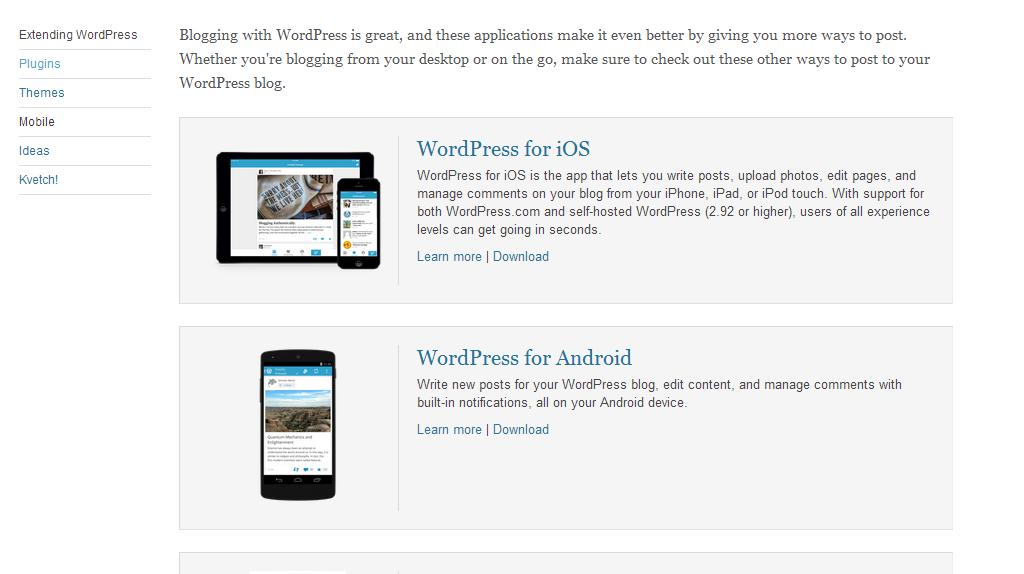 WordPress mobile apps