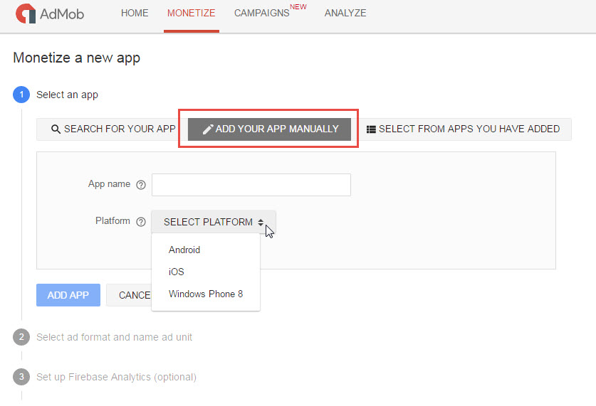 Create AdMob App Step 1