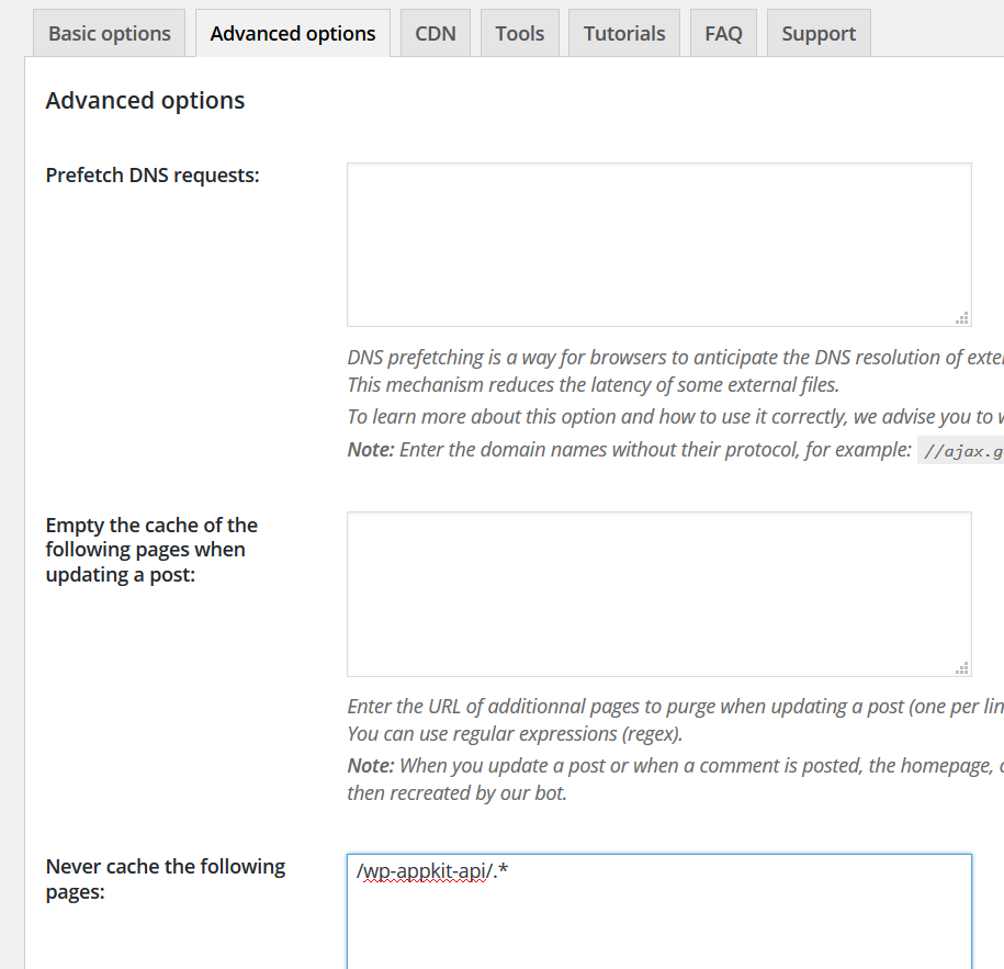 WP Rocket options to make WP-AppKit compatible