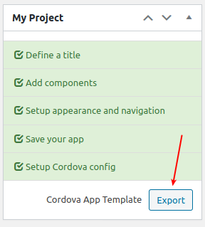 Export WP-AppKit app as Cordova template